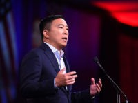 2020 US Democratic Presidential hopeful Andrew US entrepreneur Andrew Yang speaks on-stage during the Democratic National Committee's summer meeting in San Francisco, California on August 23, 2019. (Photo by JOSH EDELSON / AFP) (Photo credit should read JOSH EDELSON/AFP/Getty Images)