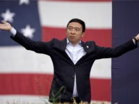 Democratic presidential candidate Andrew Yang speaks at the Polk County Democrats Steak Fry, in Des Moines, Iowa, Saturday, Sept. 21, 2019. (AP Photo/Nati Harnik)