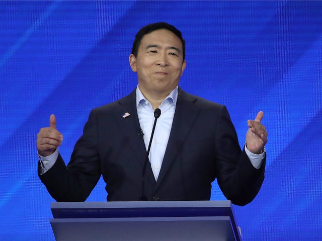 Democratic presidential candidate former tech executive Andrew Yang speaks during the Democratic Presidential Debate at Texas Southern University's Health and PE Center on September 12, 2019 in Houston, Texas. Ten Democratic presidential hopefuls were chosen from the larger field of candidates to participate in the debate hosted by ABC News …