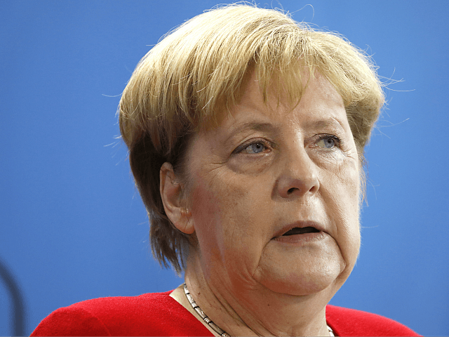 BERLIN, GERMANY - AUGUST 29: German Chancellor Angela Merkel give statements to the media prior to talks with President of the Palestinian National Authorityat the Chancellery on August 29, 2019 in Berlin, Germany. The two leaders are meeting to discuss the situation in the Middle East as well as bilateral …