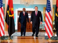 Angolan Foreign Minister Manuel Domingos Augusto (L) walks with US Secretary of State Mike Pompeo at the US Department of State in Washington, DC, August 19, 2019. (Photo by JIM WATSON / AFP) (Photo credit should read JIM WATSON/AFP/Getty Images)