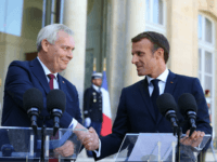 French President Emmanuel Macron shakes hands with Finnish Prime Minister Antti Rinne as they give a joint press conference following their meeting at the Elysee presidential palace on September 18, 2019, in Paris. (Photo by Ludovic MARIN / AFP) (Photo credit should read LUDOVIC MARIN/AFP/Getty Images)