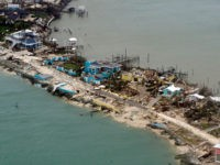 NASSAU, BAHAMAS - SEPTEMBER 03: In this USCG handout image, Overhead view of a row of damaged structures in the Bahamas from a Coast Guard Elizabeth City C-130 aircraft after Hurricane Dorian shifts north September 3, 2019. Hurricane Dorian made landfall Saturday and intensified into Sunday. The Coast Guard is …