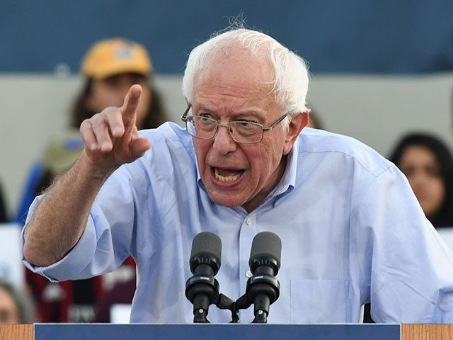 2020 Democratic presidential hopeful Vermont US Senator Bernie Sanders talks to a crowd of supporters during a campaign rally in Santa Monica, California on July 26, 2019. (Photo by Mark RALSTON / AFP) (Photo credit should read MARK RALSTON/AFP/Getty Images)