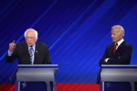HOUSTON, TEXAS - SEPTEMBER 12: Democratic presidential candidate Sen. Bernie Sanders (I-VT) speaks as former Vice President Joe Biden looks on during the Democratic Presidential Debate at Texas Southern University's Health and PE Center on September 12, 2019 in Houston, Texas. Ten Democratic presidential hopefuls were chosen from the larger …