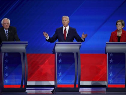 Democratic presidential candidate Sen. Bernie Sanders (I-VT), former Vice President Joe Biden, and Sen. Elizabeth Warren (D-MA) interact on stage during the Democratic Presidential Debate at Texas Southern University's Health and PE Center on September 12, 2019 in Houston, Texas. Ten Democratic presidential hopefuls were chosen from the larger field …