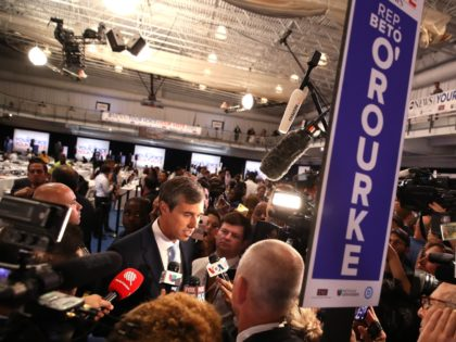 HOUSTON, TEXAS - SEPTEMBER 12: Democratic presidential candidate former Texas congressman Beto O'Rourke is interviewed by the media in the spin room after the Democratic Presidential Debate at Texas Southern University on September 12, 2019 in Houston, Texas. Ten Democratic presidential hopefuls were chosen from the larger field of candidates …