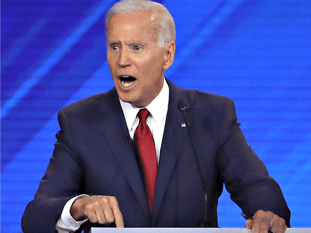 HOUSTON, TEXAS - SEPTEMBER 12: Democratic presidential candidate former Vice President Joe Biden speaks during the Democratic Presidential Debate at Texas Southern University's Health and PE Center on September 12, 2019 in Houston, Texas. Ten Democratic presidential hopefuls were chosen from the larger field of candidates to participate in the …