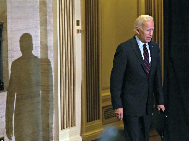 Democratic presidential hopeful Joe Biden arrives to make a statement on Ukraine during a press conference at the Hotel Du Pont on September 24, 2019, in Wilmington, Delaware. (Photo by Olivier Douliery / AFP) (Photo credit should read OLIVIER DOULIERY/AFP/Getty Images)