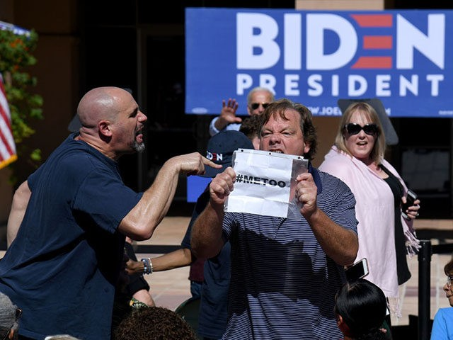 LAS VEGAS, NEVADA - SEPTEMBER 27: A protester interrupts a speech by Democratic presidential candidate and former U.S. Vice President Joe Biden at the East Las Vegas Community Center on September 27, 2019 in Las Vegas, Nevada. Biden is still the front-runner in most national polls but his lead over …