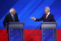 HOUSTON, TEXAS - SEPTEMBER 12: Democratic presidential candidates Sen. Bernie Sanders (I-VT) and former Vice President Joe Biden interact during the Democratic Presidential Debate at Texas Southern University's Health and PE Center on September 12, 2019 in Houston, Texas. Ten Democratic presidential hopefuls were chosen from the larger field of …