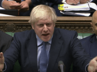 Britain's Prime Minister Boris Johnson speaks during Prime Minister's Questions in the House of Commons, London, Wednesday Sept. 4, 2019. (House of Commons via PA via AP)