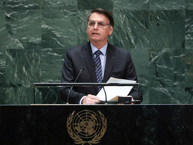 NEW YORK, NY - SEPTEMBER 24: President of Brazil Jair Messias Bolsonaro addresses the United Nations General Assembly at UN headquarters on September 24, 2019 in New York City. World leaders from across the globe are gathered at the 74th session of the UN General Assembly, amid crises ranging from …