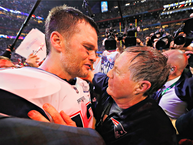 ATLANTA, GA - FEBRUARY 03: Tom Brady #12 of the New England Patriots talks to head coach Bill Belichick of the New England Patriots after the Patriots defeat the Rams 13-3 during Super Bowl LIII at Mercedes-Benz Stadium on February 3, 2019 in Atlanta, Georgia. (Photo by Kevin C. Cox/Getty …