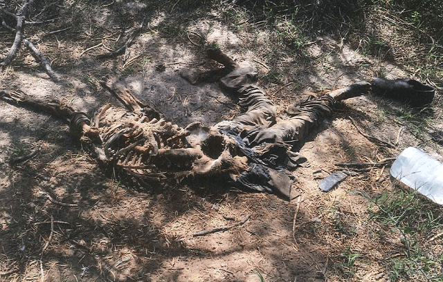 Brooks County Sheriff's Office officials recover the remains of a migrant who died on a Texas ranch about 80 miles from the Mexican border. (Photo: Brooks County Sheriff's Office/Deputy Robert Castanon)