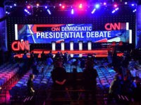 Members of the media are given a preview of the debate hall at the Wynn Hotel in Las Vegas, Nevada on October 13, 2015, hours before the first Democratic Presidential Debate. After ignoring her chief rival for months, White House heavyweight contender Hillary Clinton steps into the ring Tuesday to …