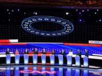 Democratic presidential hopefuls (L-R) US Senator from Colorado Michael Bennet, US Senator from New York Kirsten Gillibrand, former US Secretary of Housing and Urban Development Julian Castro, US Senator from New Jersey Cory Booker, former Vice President Joe Biden, US Senator from California Kamala Harris, US entrepreneur Andrew Yang, US …