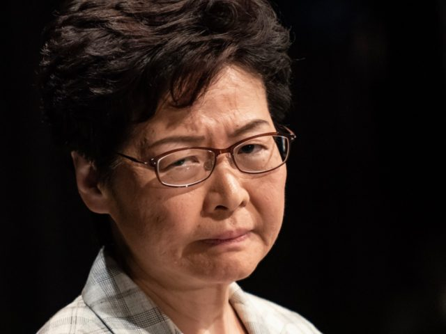 HONG KONG, CHINA - SEPTEMBER 26: Hong Kong Chief Executive Carrie Lam attends the first community dialogue session with 150 randomly selected members of the public on September 26, 2019 in Hong Kong, China. Hong Kong Chief Executive Carrie Lam held her first community dialogue on Thursday as pro-democracy protests …