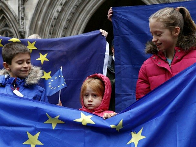 Pro-European Union (EU) supporter stands at the entrance to The Royal Courts of Justice, Britain's High Court, in London on October 13, 2016, during a protest against the UK's decision to leave the EU. The battle over Britain's exit from the European Union (Brexit) reached the High Court on Thursday …