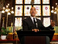 Democratic presidential candidate Cory Booker speaks about gun control at Mother Emanuel AME Church Wednesday, August 7, 2019, in Charleston, S.C. (AP Photo/Mic Smith)