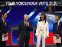 Moderators (L-R) ABC journalist David Muir, US-Mexican journalist Jorge Ramos, Newscaster Linsey Davis and Former White House Communications Director George Stephanopoulos arrive on stage for the third Democratic primary debate of the 2020 presidential campaign season hosted by ABC News in partnership with Univision at Texas Southern University in Houston, …