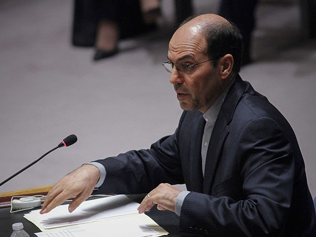 NEW YORK, NY - JULY 22: H.E. Mr. Gholamhossein Dehghani Representative of Islamic Republic of Iran to the United Nations speaks during a Security Council meeting at the UN on July 22, 2014 in New York City. The Israeli operation in the Gaza Strip is entering the third week with …