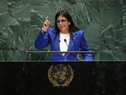 NEW YORK, NY - SEPTEMBER 27: Vice President of Venezuela Delcy Rodriguez addresses the United Nations General Assembly at UN headquarters on September 27, 2019 in New York City. World leaders from across the globe are gathered at the 74th session of the UN General Assembly, amid crises ranging from …