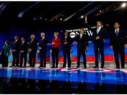 From left, Democratic presidential candidates Sen. Amy Klobuchar, D-Minn., Sen. Cory Booker, D-N.J., South Bend Mayor Pete Buttigieg, Sen. Bernie Sanders, I-Vt., former Vice President Joe Biden, Sen. Elizabeth Warren, D-Mass., Sen. Kamala Harris, D-Calif., entrepreneur Andrew Yang, former Texas Rep. Beto O'Rourke and former Housing Secretary Julian Castro are …