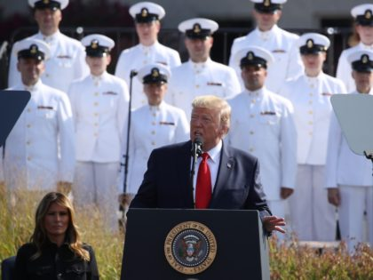 ARLINGTON, VIRGINIA - SEPTEMBER 11: U.S. President Donald Trump speaks during a 911 memorial ceremony at the Pentagon to commemorate the anniversary of the 9/11 terror attacks September 11, 2019 in Arlington, Virginia. The nation is marking the 18th anniversary of the terror attacks that took almost 3000 lives. (Photo …