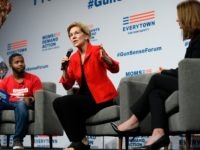 DES MOINES, IA - AUGUST 10: Democratic presidential candidate Sen. Elizabeth Warren (D-MA) (C) speaks on stage during a forum on gun safety at the Iowa Events Center on August 10, 2019 in Des Moines, Iowa. Today Warren and her campaign introduced a gun control plan to reduce gun deaths …