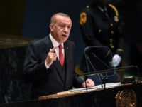 NEW YORK, NY - SEPTEMBER 24: Turkish President Recep Tayyip Erdoan speaks at the United Nations (U.N.) General Assembly on September 24, 2019 in New York City. World leaders are gathered for the 74th session of the UN amid a warning by Secretary-General Antonio Guterres in his address yesterday of …