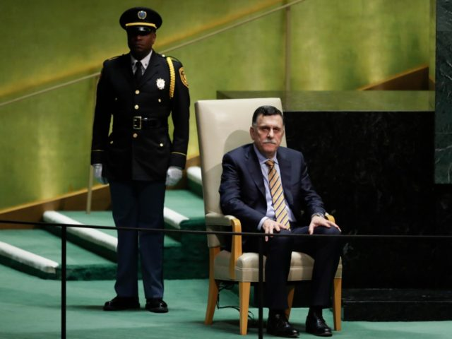 Libya's Prime Minister Fayez al-Sarraj waits to address the 74th session of the United Nations General Assembly, Wednesday, Sept. 25, 2019, at the United Nations headquarters. (AP Photo/Frank Franklin II)
