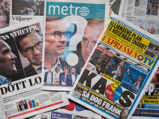 A photo taken on September 10, 2018 in Stockholm shows a selection of front pages of Swedish newspapers in Stockholm a day after the general elections. - As expected, neither the centre-left nor the centre-right bloc obtained a majority in the legislative elections, and the far-right Sweden Democrats solidified their …