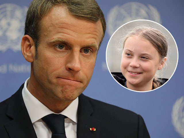 (INSET: Greta Thunberg) French president Emmanuel Macron speaks to the press during the annual general assembly at the United Nations headquarters in New York City on September 25, 2018. (Photo by Ludovic MARIN / AFP) (Photo credit should read LUDOVIC MARIN/AFP/Getty Images)