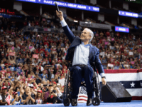 Texas Republican Governor Greg Abbott speaks during a campaign rally by US President Donald Trump at the Toyota Center in Houston, Texas, October 22, 2018. (Photo by SAUL LOEB / AFP) (Photo credit should read SAUL LOEB/AFP/Getty Images)