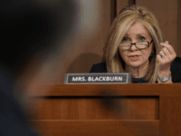 Sen. Marsha Blackburn (R-TN) questions U.S. Attorney General nominee William Barr during his confirmation hearing January 15, 2019 in Washington, DC. Barr, who previously served as Attorney General under President George H. W. Bush, was confronted about his views on the investigation being conducted by special counsel Robert Mueller. (Photo …