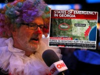 (INSET: A CNN map mis-identifying Alabama as Mississippi) ATLANTA, GEORGIA - JANUARY 28: A member of the media answers questions from CNN during Super Bowl LIII Opening Night at State Farm Arena on January 28, 2019 in Atlanta, Georgia. (Photo by Kevin C. Cox/Getty Images)