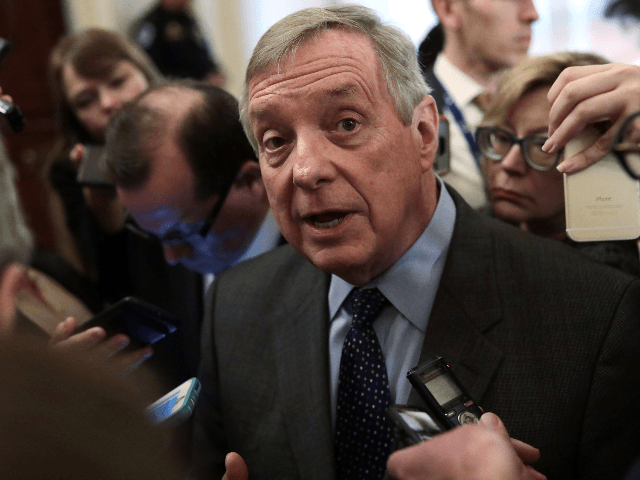 U.S. Senate Minority Whip Sen. Richard Durbin (D-IL) speaks to members of the media after a weekly Senate Democratic Policy Luncheon at the U.S. Capitol February 5, 2019 in Washington, DC. Senate Democrats held the weekly policy luncheon to discuss Democratic agenda. (Photo by Alex Wong/Getty Images)
