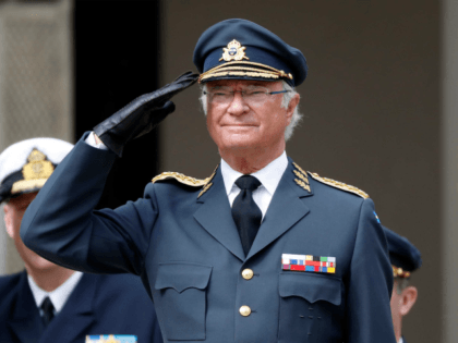 STOCKHOLM, SWEDEN - APRIL 30: King Carl XVI Gustaf of Sweden salutes at a celebration of his 73rd birthday anniversary at the Royal Palace on April 30, 2019 in Stockholm, Sweden. (Photo by Michael Campanella/Getty Images)