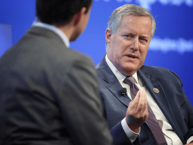 Freedom caucus chairman Rep. Mark Meadows (R) (R-NC) answers questions from Washington Post reporter Robert Costa (L) April 30, 2019 in Washington, DC. Meadows appeared as part of a Washington Post Live discussion on the Mueller Report. (Photo by Win McNamee/Getty Images)