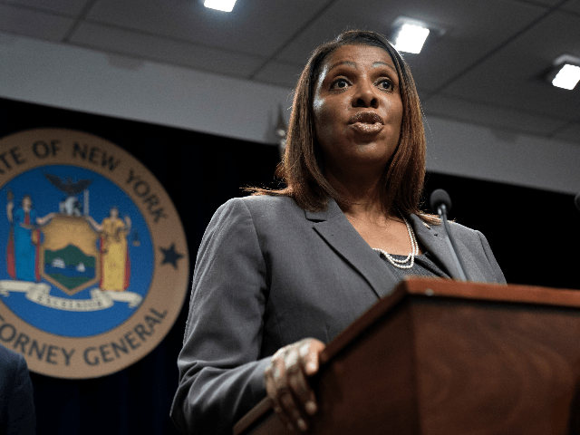 New York Attorney General Letitia James speaks during a press conference, June 11, 2019 in New York City. James announced that New York, California, and seven other states have filed a lawsuit seeking to block the proposed merger between Sprint and T-Mobile. James said that the merger would deprive customers …