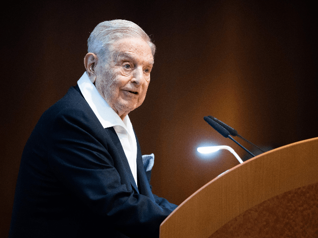 Hungarian-born US investor and philanthropist George Soros talks to the audience after receiving the Schumpeter Award 2019 in Vienna, Austria on June 21, 2019. (Photo by GEORG HOCHMUTH / APA / AFP) / Austria OUT (Photo credit should read GEORG HOCHMUTH/AFP/Getty Images)