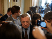 Senator Richard Durbin (D-IL) takes questions from reporters during the Weekly Senate Policy Luncheon Press Conferences on June 25, 2019 on Capitol Hill in Washington, DC. (Photo by Tom Brenner/Getty Images)