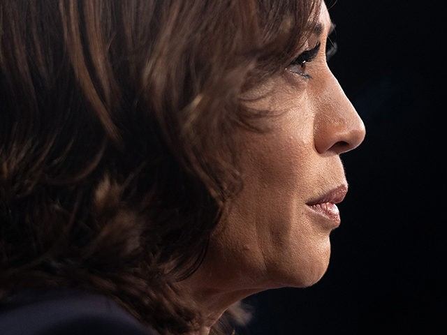 Democratic presidential hopeful US Senator for California Kamala Harris speaks with MSNBC host Chris Matthews (out of frame) in the Spin Room after the second Democratic primary debate of the 2020 presidential campaign season hosted by NBC News at the Adrienne Arsht Center for the Performing Arts in Miami, Florida, …