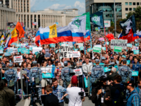 Demonstrators take part in a rally to support opposition and independent candidates after authorities refused to register them for September elections to the Moscow City Duma, Moscow, July 20, 2019. (Photo by Maxim ZMEYEV / AFP) (Photo credit should read MAXIM ZMEYEV/AFP/Getty Images)
