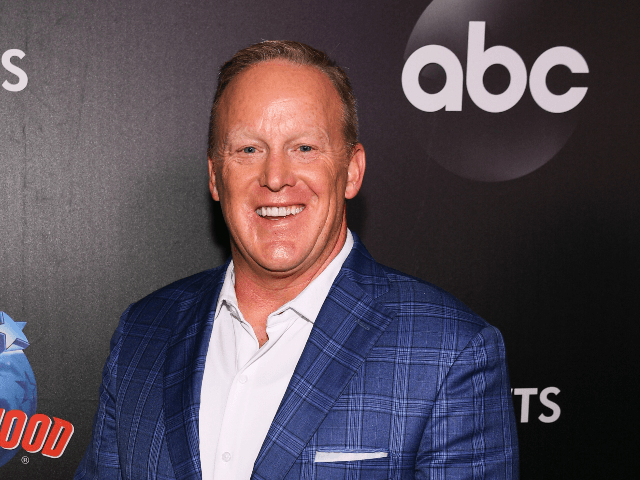 """Former White House Press Secretary Sean Spicer arrives at the 2019 """"Dancing With The Stars"""" Cast Reveal at Planet Hollywood Times Square on August 21, 2019 in New York City. (Photo by Dave Kotinsky/Getty Images for Planet Hollywood International)"""