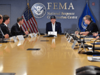 US President Donald Trump receives a briefing at the Federal Emergency Management Administration (FEMA) on Hurricane Dorian in Washington, DC, on September 1, 2019. (Photo by Nicholas Kamm / AFP) (Photo credit should read NICHOLAS KAMM/AFP/Getty Images)
