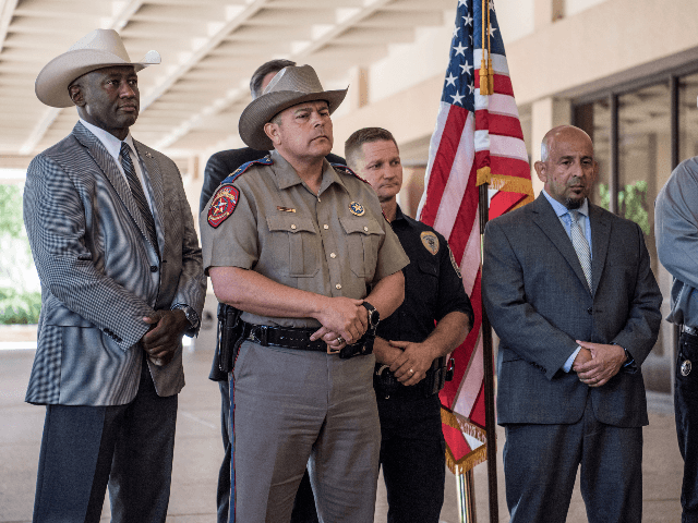 Local and federal law enforcement briefs the press on September 2, 2019 in Odessa, Texas. Officials say the shooter is dead after he killed 7 people and injured 22 in the mass shooting that began with a traffic stop on August 31. (Photo by Cengiz Yar/Getty Images)Local and federal law …