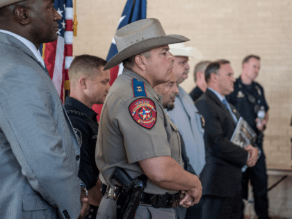 Local and federal law enforcement briefs the press on September 2, 2019 in Odessa, Texas. Officials say the shooter is dead after he killed 7 people and injured 22 in the mass shooting that began with a traffic stop on August 31. (Photo by Cengiz Yar/Getty Images)