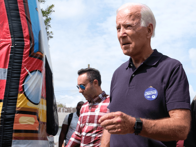 Democratic presidential candidate and former US Vice President Joe Biden campaigns on September 2, 2019 in Cedar Rapids, Iowa. Biden spoke at the Hawkeye Area Labor Council Picnic and was among several Democratic presidential candidates who attended then Labor Day event. (Photo by Alex Wroblewski/Getty Images)